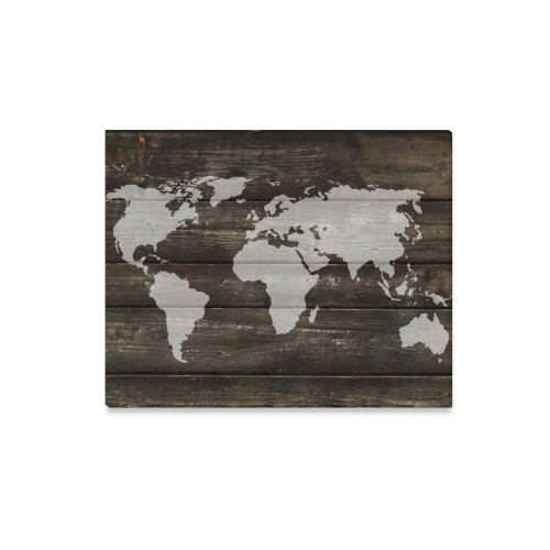 Us 23 99 Interestprint World Map Old Wooden Striped Canvas Wall Art Print Painting Vintage Black Wood Wall Hanging Artwork For Home Decoration