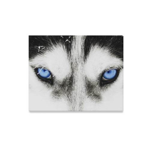 Us 23 99 Interestprint Black And White Wolf Blue Eye Canvas Wall Art Print Painting Animal Face Wall Hanging Artwork For Home Decoration