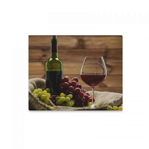 InterestPrint Red Wine Bottle and Wine Glass with Red Grapes Canvas ...