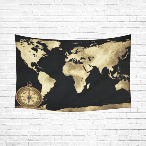 Interestprint global decor gold world map and compass cotton linen interestprint global decor gold world map and compass cotton linen tapestry wall hanging art sets item code d226858 gumiabroncs Image collections