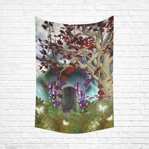 ca5d7ac1b5 InterestPrint Mystical Magical Tree Anime Moon Wall Art Home Decor, Fairy  Fantasy House by Night Cotton Linen Tapestry Wall Hanging Art Sets