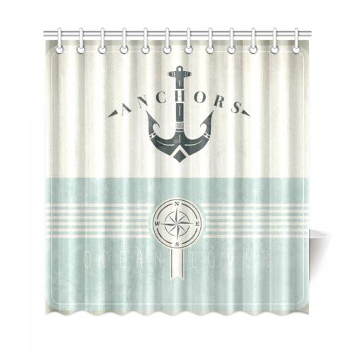 InterestPrint Artsy Shower Curtain Ocean Decor Nautical Anchor Sailor Sea Directions