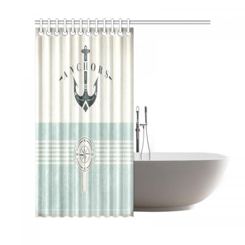 InterestPrint Artsy Shower Curtain Ocean Decor Nautical Anchor Sailor Sea Directions Item Code D340219