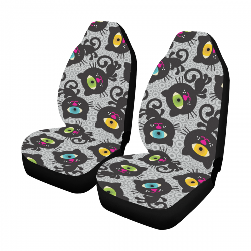 Cute Monsters Cats Car Seat Covers Set Of 2